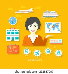 Professions concept with female travel agent holding globe map with pointers surrounded  elements of travel and tourism