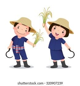 Profession's costume of Thai farmer for kids