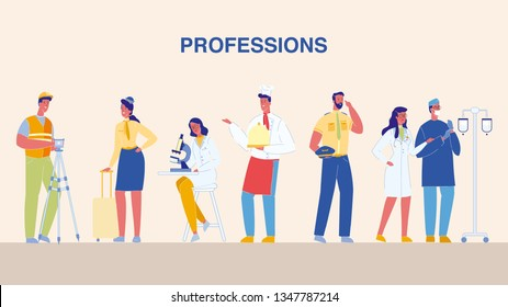 Professions, Jobs Flat Vector Illustrations Set. Cartoon Characters of Different Occupation. Female Scientist with Microscope. Doctor, Surgeon in Uniform. Pilot, Stewardess. Handyman, Builder. Cook