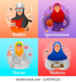 Professions of muslim women flat design concept with builder doctor athlete and waitress isolated vector illustration