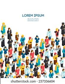 Professions poster with isometric avatars of engineer handyman waiter painter vector illustration - Shutterstock ID 237336604