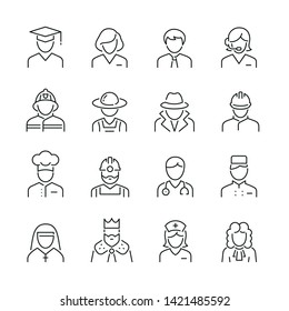 Professions related icons: thin vector icon set, black and white kit