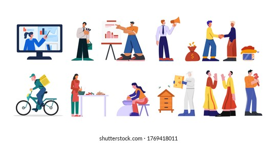 Professions set. Experienced plumber master experienced business analyst promoter professional beekeeper potter painter quick delivery courier restaurant chef actor flat folk vector dance.