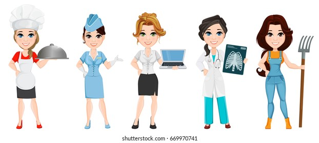 Professions. Set of female cartoon characters. Chef, stewardess, business woman, medical doctor and farmer. Vector illustration