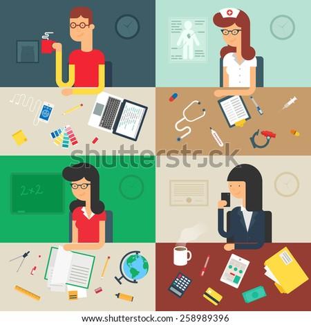Professions Web Developer Nurse Teacher Businessman Stock