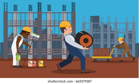 Professions workers on the construction site perform different jobs with urban houses and building frame background flat vector illustration