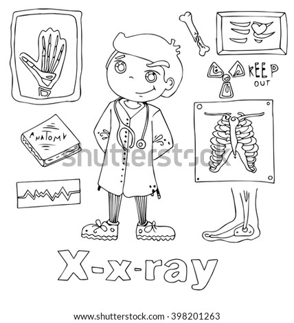 Professions Xray Alphabetical Order Cartoon Hand Stock Vector