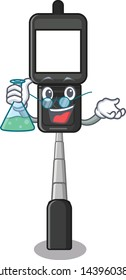 Professor cell phone holder isolated in mascot