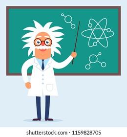 The professor character standing in the classroom near blackboard. Flat design funny illustration. Back to school idea.