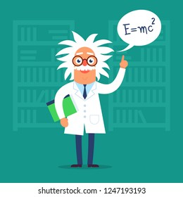 The professor character standing in the classroom near blackboard. Flat design funny illustration. Back to school idea.