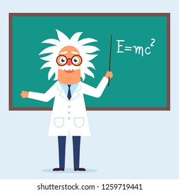 The professor character standing in the classroom near blackboard. Flat design funny illustration. Back to school idea. Phisics genius character.