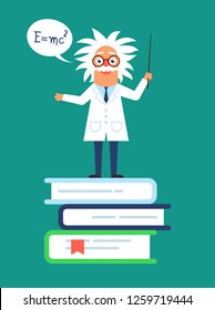 The professor character standing on the books and speaking formula, the Newton law. Flat design funny illustration. Back to school idea. Phisics genius character.