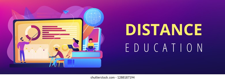 Professor with charts teaching students from laptop screen and globe. Distance education, off-campus learning, distance learning degree concept. Header or footer banner template with copy space.