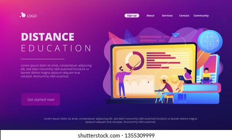 Professor with charts teaching students from laptop screen and globe. Distance education, off-campus learning, distance learning degree concept. Website vibrant violet landing web page template.