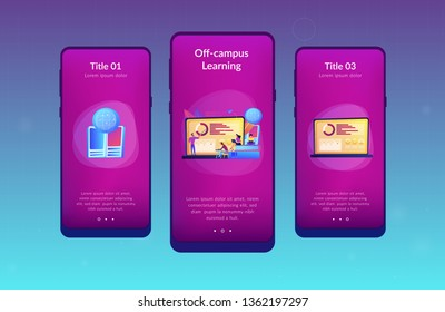 Professor with charts teaching students from laptop screen and globe. Distance education, off-campus learning, distance learning degree concept. Mobile UI UX GUI template, app interface wireframe