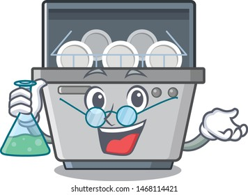 Professor dishwasher machine isolated in the cartoon