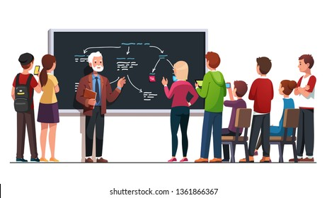 Professor explaining seminar lecture topic using drawing diagram on class blackboard talking to students group. Student asking teacher questions after lesson. Flat vector character illustration