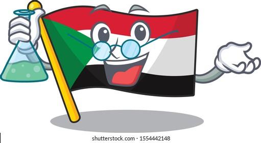 professor flag sudan with mascot funny cartoon