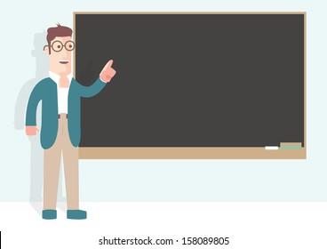 Professor in front of a black board