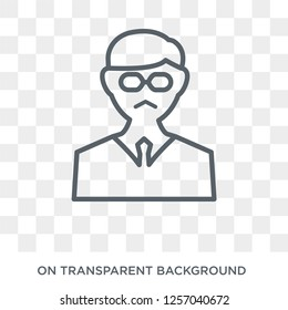 Professor icon. Trendy flat vector Professor icon on transparent background from Professions collection. High quality filled Professor symbol use for web and mobile