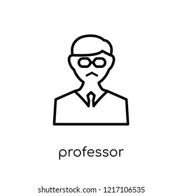 Professor icon. Trendy modern flat linear vector Professor icon on white background from thin line Professions collection, editable outline stroke vector illustration