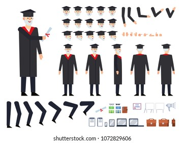 Professor or old graduate in dark mantle creation kit. Create your own pose, action, animation. Various emotions, gestures, design elements. Flat design vector illustration