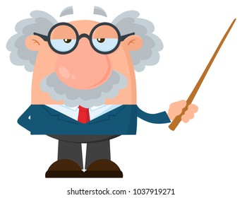 Professor Or Scientist Cartoon Character Holding A Pointer. Vector Illustration Flat Design Isolated On White Background