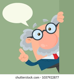 Professor Or Scientist Cartoon Character Looking Around Corner With Speech Bubble. Vector Illustration Flat Design With Background