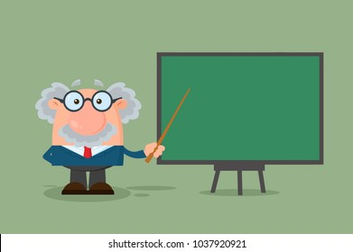 Professor Or Scientist Cartoon Character With Pointer Presenting On A Board. Vector Illustration Flat Design With Background