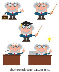 Professor Or Scientist Cartoon Character Set 1. Vector Illustration Flat Design Isolated On White Background