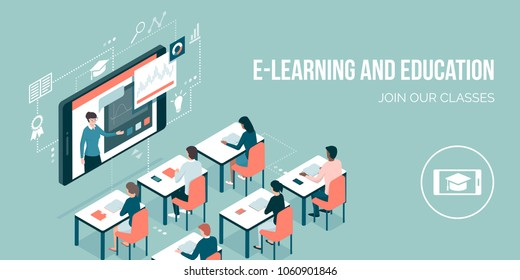 Professor talking on a video conference on a smartphone and adult students learning: online courses and e-learning concept