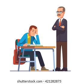 Professor or teacher looking with regret on a sleeping teen student sitting at his school desk. Flat style color modern vector illustration.