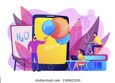 Professor teaching sudents science with help of tablet and augmented reality. Virtual reality, visual education, engaging teaching methods concept, violet palette. Vector isolated illustration.