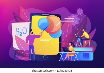 Professor teaching sudents science with help of tablet and augmented reality. Virtual reality, visual education, engaging teaching methods concept, violet palette. Vector illustration.