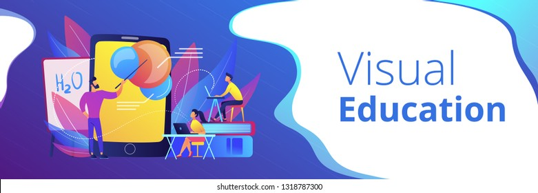 Professor teaching sudents science with help of tablet and augmented reality. Virtual reality, visual education, engaging teaching methods concept, violet palette. Header or footer banner.