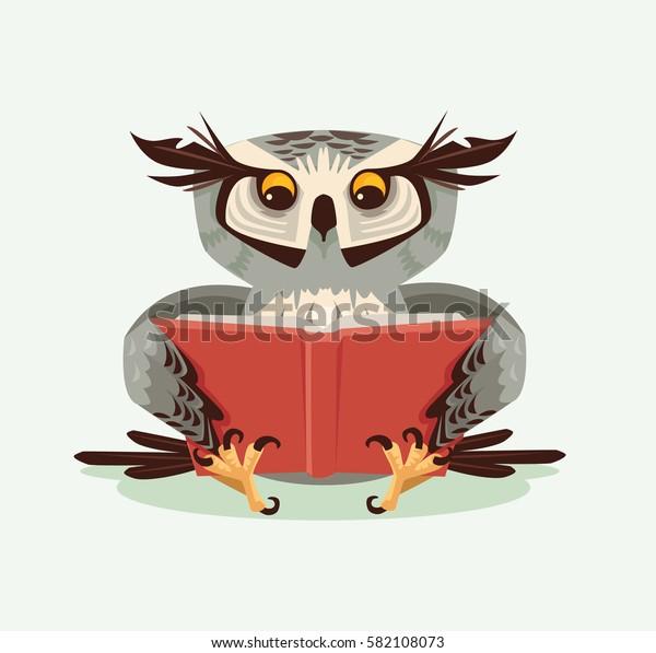 Professor wise owl character reading book. Vector flat cartoon illustration