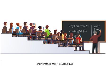 Professor writing physics formula on blackboard during university lecture class. Big full multilevel classroom interior. Students sitting at desks. Higher education. Flat vector character illustration