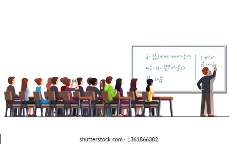 Professor writing quantum physics formula on white blackboard during college lecture class. Big classroom interior with students sitting at desks. Higher education. Flat vector character illustration