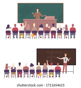 Professors Giving Task, Explaining Seminar, Lecture to Students Sitting in Classroom Set, University, College Education Flat Vector Illustration