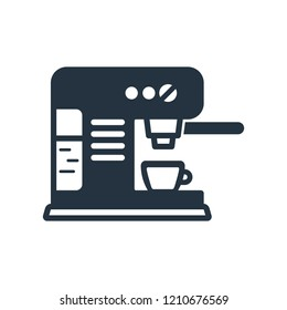 Proffesional coffee machine isolated icon on white background, 400 coffee set, logo and sign