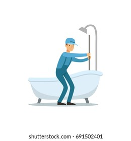 Proffesional plumber man character cleaning drain, plumbing work vector Illustration