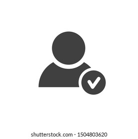 Profile approved icon. Check mark. Vector illustration.