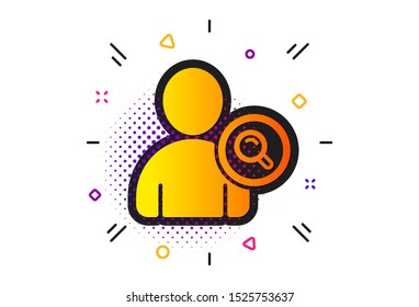 Profile Avatar with Magnifying glass sign. Halftone circles pattern. Search User icon. Person silhouette symbol. Classic flat find user icon. Vector