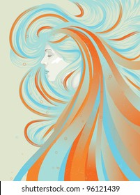 Profile of beautiful woman with abstract flowing hair