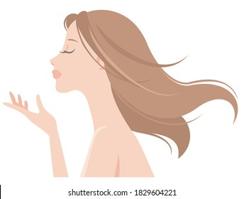 Profile of a beautiful woman with long hair fluttering behind. Vector illustration isolated on white background.