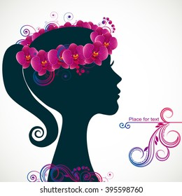 Profile of beautiful young woman in wreath of orchid flowers in hair. Vector illustration greeting card beauty and fashion.