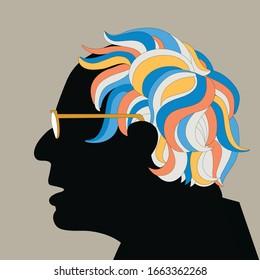 Profile of Bernie Sanders with multicoloured hair, vector illustration