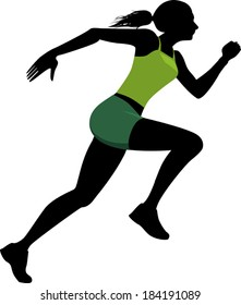Profile black silhouette of a young woman in a bright green athletic clothes running, vector illustration