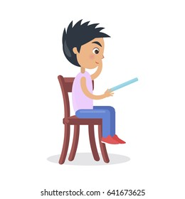Profile of boy sitting on chair and reading fairy tales vector illustration isolated on white. Schoolboy reads book before sleep