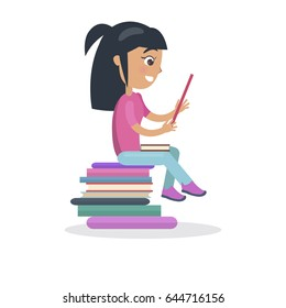 Profile of brunette girl with textbook sitting on pile of books vector illustration in concept of International Literacy Day isolated on white